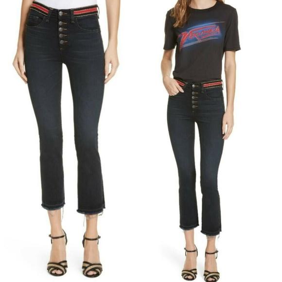 Veronica Beard Denim - Veronica Beard Carolyn Crop Flare Boot Jeans Dark